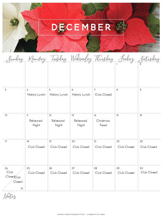 December 2017 Printable