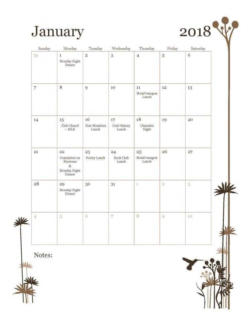 January 2018 Tavern Club Calendar