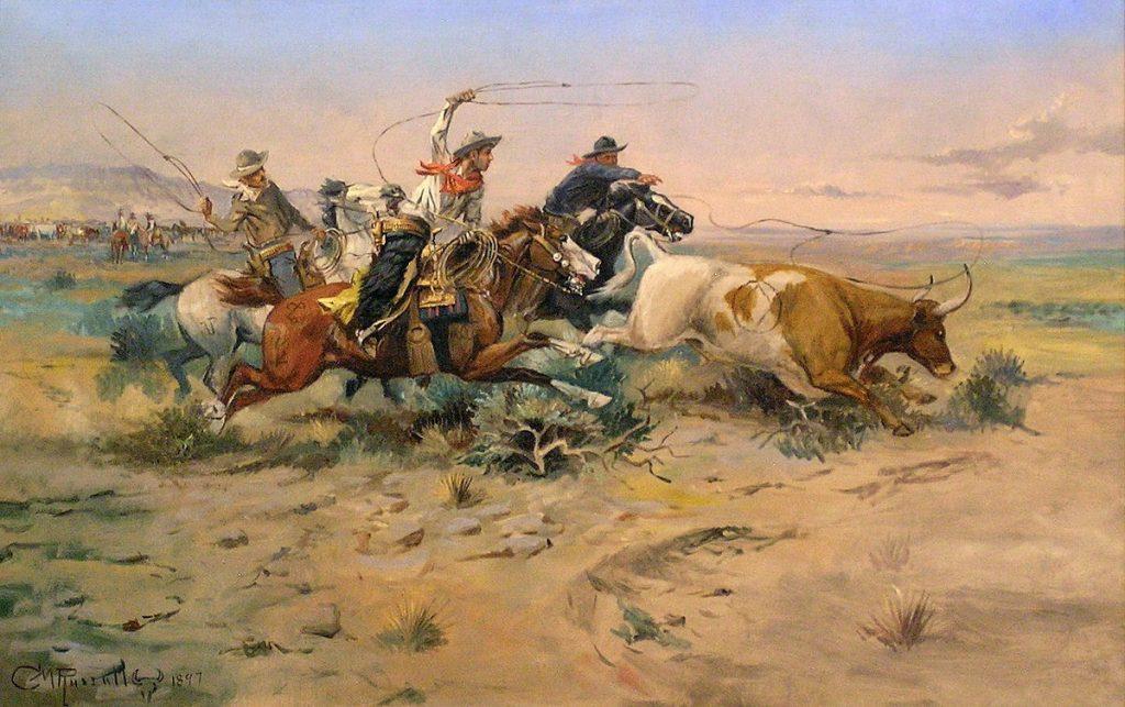 western cow boys on horses