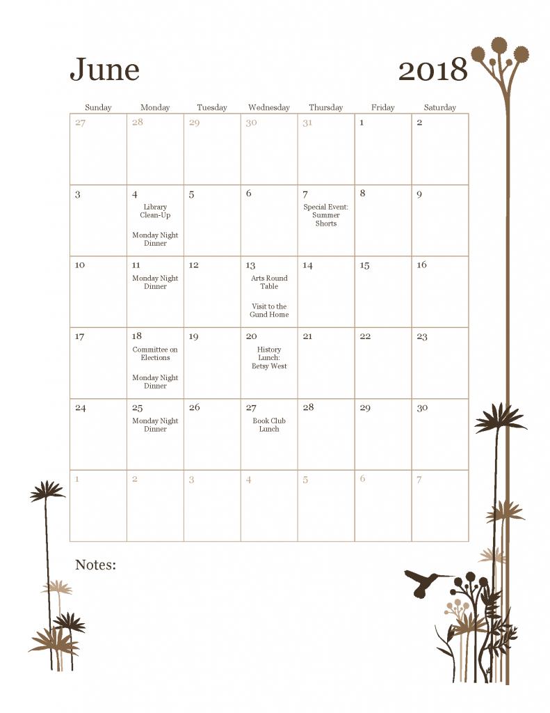 June 2018 Tavern Club Calendar