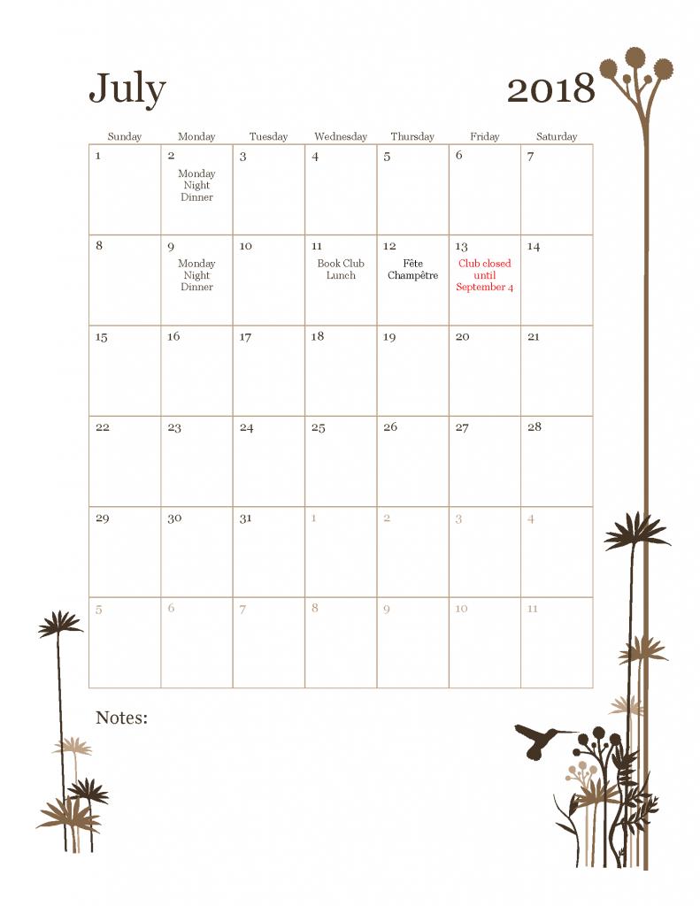 July Tavern Club Calendar
