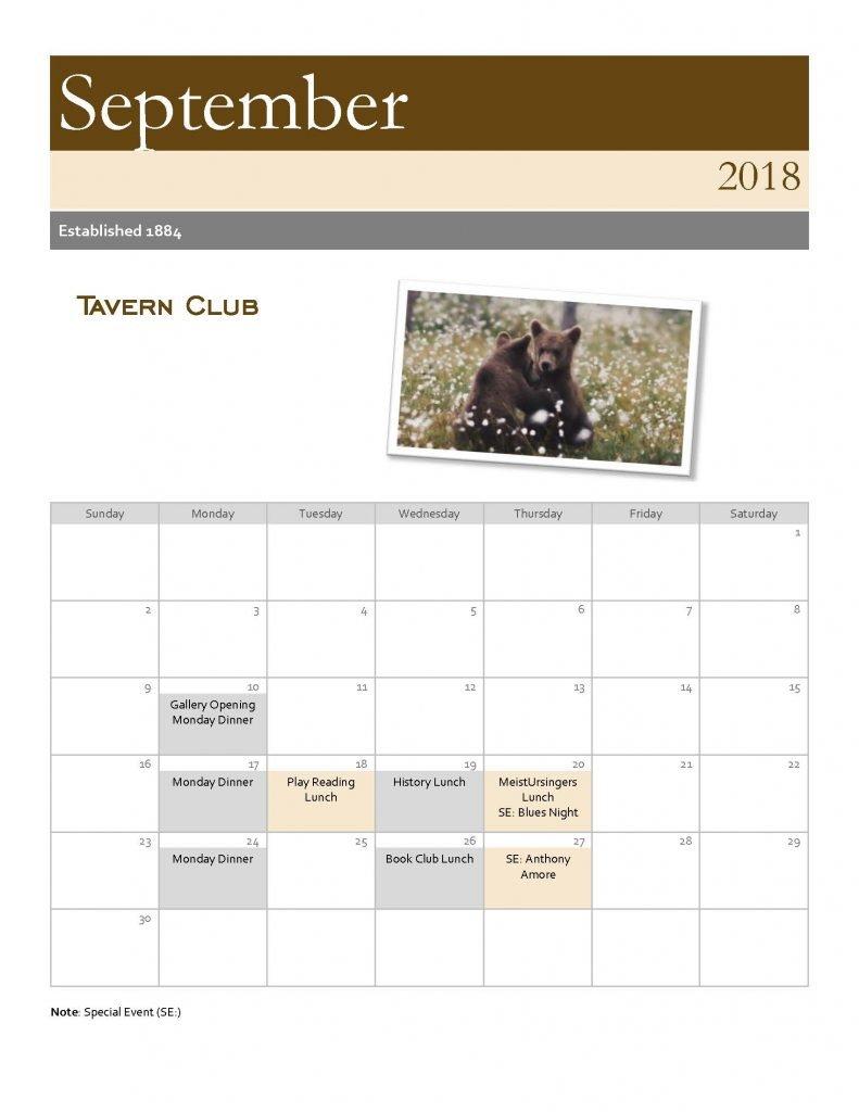 Tavern Club September 2018 Calendar