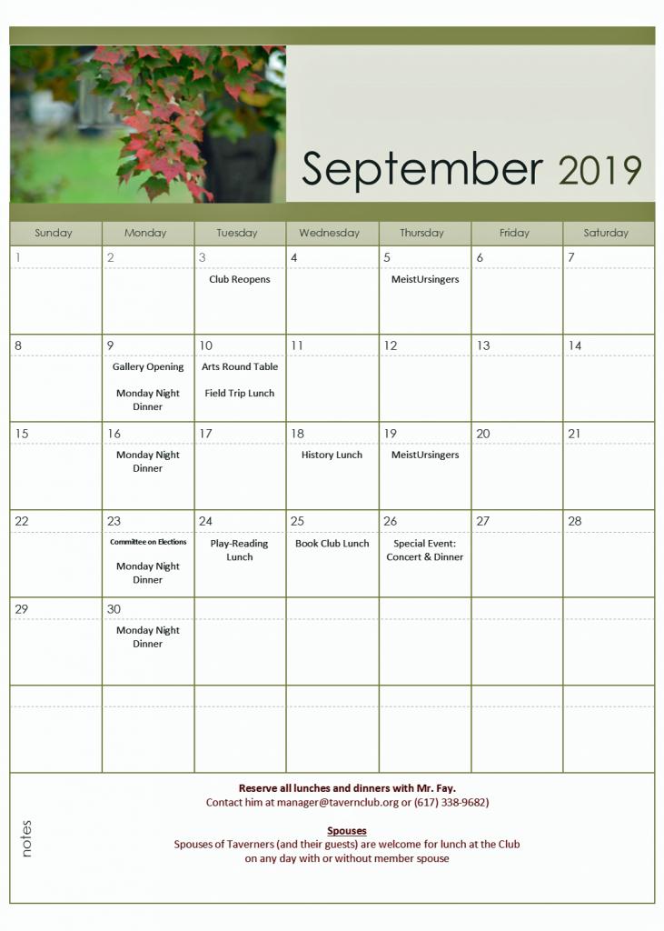 September Tavern Club Calendar