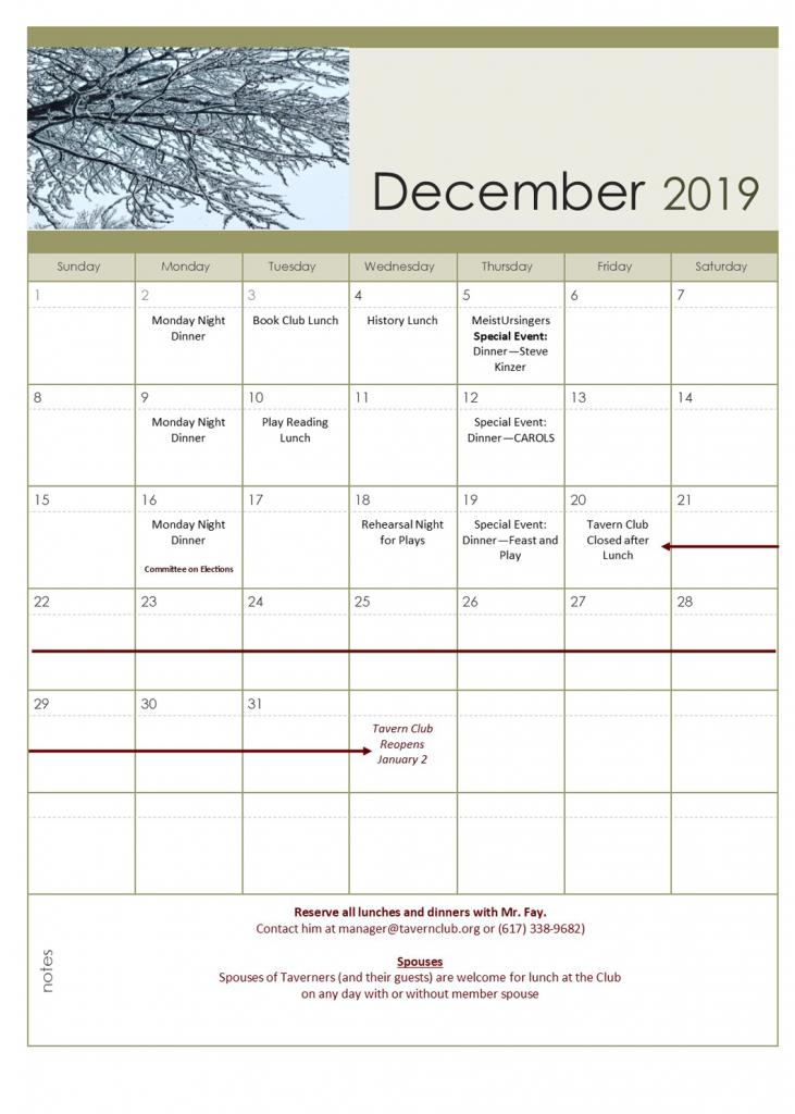 December 2019 Tavern Club Calendar