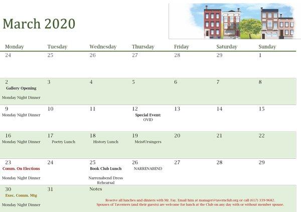 Tavern Club Calendar for March 2020