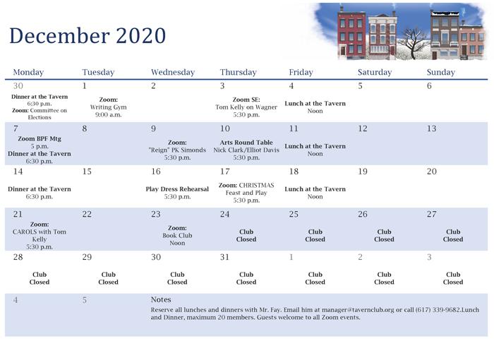 Tavern Club December Calendar